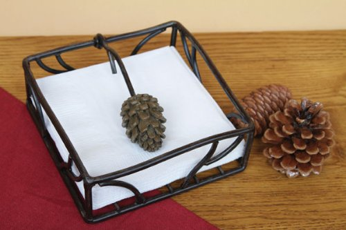 5.5 Square Metal Pine Cone cocktail Napkin Holder With Pine Cone Weight