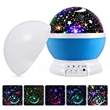 instecho Baby Night Lights Kids, Starry Night Light Rotating Moon Stars Projector, 9 Color Options Romantic Night Lighting Lamp, USB Cable/Batteries Powered Nursery, Bedroom