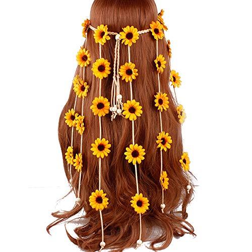 (Flower Headband Hippie Sunflower Hairband Floral Crown Bohemian Hair Band Women Girls Boho Hair Hoop Headdress Headwear Headpiece Party Decoration Cosplay Costume Cute Handmade Hair Accessories Yellow)