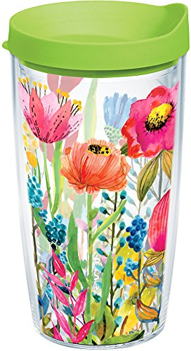 Tervis 1208548 Watercolor Wildflowers Tumbler with Wrap and Lime Green Lid 16oz, Clear (Tumbler Tervis Floral)