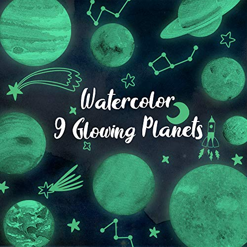 Konsait Luminous Wall Sticker, Nine Planets Solar System Pattern Wall Sticker, Glow in The Dark Stars and Planets, Ceiling Wall Decals for Kids Bedroom Nursery Baby Room or Party Birthday Gift
