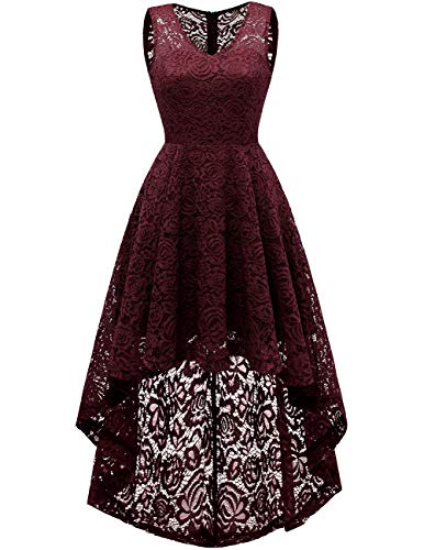 DRESSTELLS Women's Wedding Dress V-Neck Floral Lace Hi-Lo Bridesmaid Dress Burgundy L -
