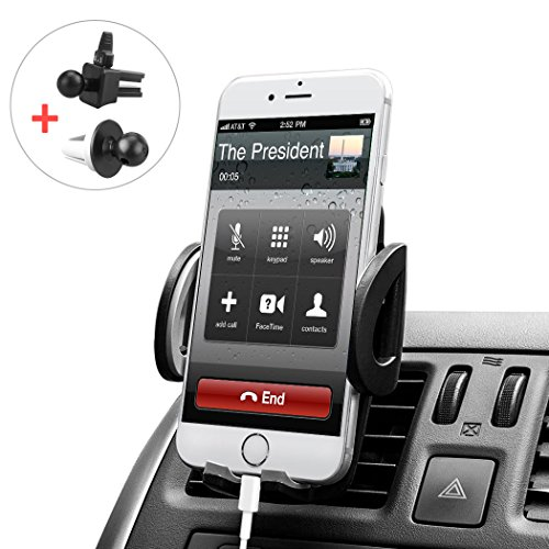 Budget&Good Universal Cell Phone Car Vent Mount Cradle Holder Compatible with iphone SE 7 7 Plus 6s 6 Plus 6 5s 5 4s 4 Nexus Sony Nokia and More (Black) - Slide Mount Brackets