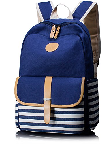 Leaper Thickened Canvas School Backpack Laptop Bag Shoulder Handbag Blue1