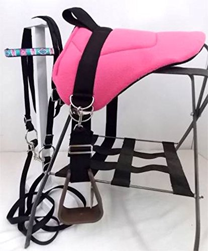 Party Ponies MINIATURE HORSE/SM PONY BAREBACK SADDLE PAD AND BRIDLE SET – BRIGHT PINK W/TURQUOISE OVERLAY BRIDLE