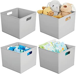 "mDesign Plastic Home Storage Organizer Bin for Cube Furniture Shelving in Office, Entryway, Closet, Cabinet, Bedroom, Laundry Room, Nursery, Kids Toy Room - 10"" x 10"" x 7.5"" - 4 Pack - Gray"