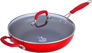 Momscook Saute Pan 6-Quart Classic Brights Hard Enamel Aluminum Nonstick Covered Skillet, Dishwasher Safe Sautepan, Red Gradient