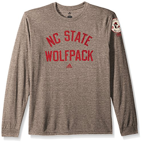 - adidas NCAA North Carolina State Wolfpack Adult Men Arched Heritage Tri-Blend L/S Tee, Medium, Dark Grey Heathered