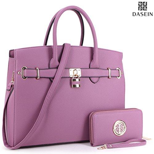 DASEIN Womens Top Handle Satchel Handbags Designer Tote Purse Shoulder Bag Faux Leather Padlock Briefcase Laptop (Briefcase Purse)