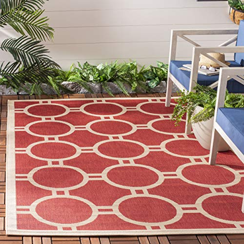(Safavieh Courtyard Collection CY6924-248 Red and Bone Indoor/ Outdoor Area Rug (4' x 5'7