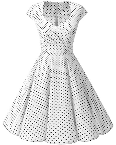 Bbonlinedress Women Short 1950s Retro Vintage Cocktail Party Swing Dresses White Small Black Dot XL