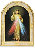 Divine Mercy Large Wall Panel with Gold Leaf Border and Wall Hook - Made in Italy