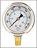 LIQUID FILLED PRESSURE GAUGE, 2.5' DIAL DISPLAY, STAINLESS STEEL CASE, BRASS INTERNALS, 1/4 MALE NPT LOWER MOUNT CONNECTION, DUAL SCALE PSI & BAR (0-1500)