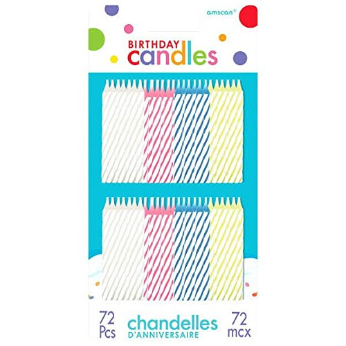 Assorted Color Spiral Birthday Candles | Pack of 74 | Party Supplyb