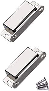WOOCH Magnetic Door Catch - 50lb High Magnetic Stainless Steel Heavy Duty Catch for Kitchen Bathroom Cupboard Wardrobe Closet Closures Cabinet Door Drawer Latch (2.76 in Silver, 2-Pack)