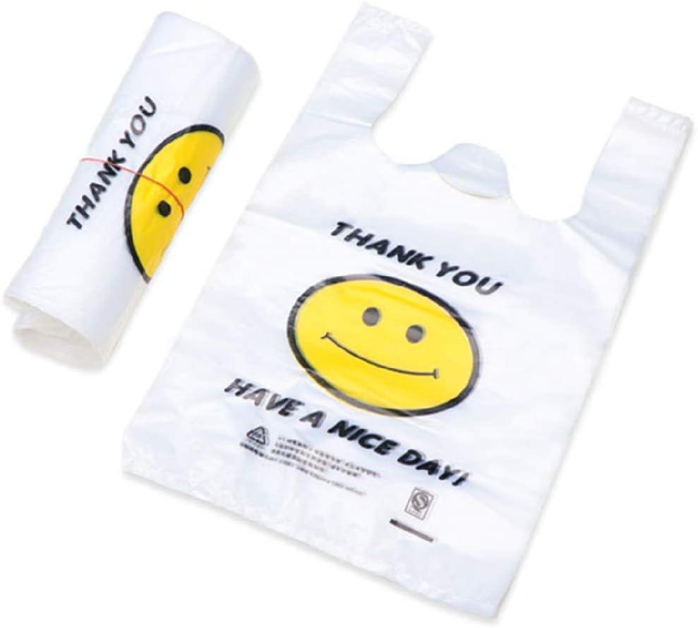 100 bolsas pequeñas de plástico reciclable para camisetas con asas para compras de supermercados (7.8x12.5 pulgadas)
