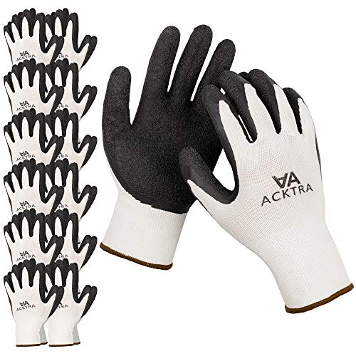 ACKTRA Coated Nylon Safety WORK GLOVES 12 Pairs, Knit Wrist Cuff, Multipurpose, for Men & Women, WG008 White Polyester, Black Latex, Small