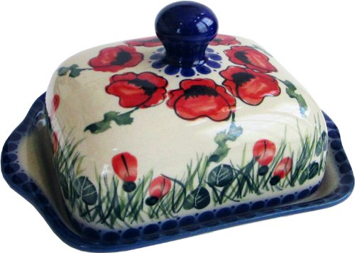 "Polish Pottery Butter Dish - Eva's Collection ""Poppy Field"""