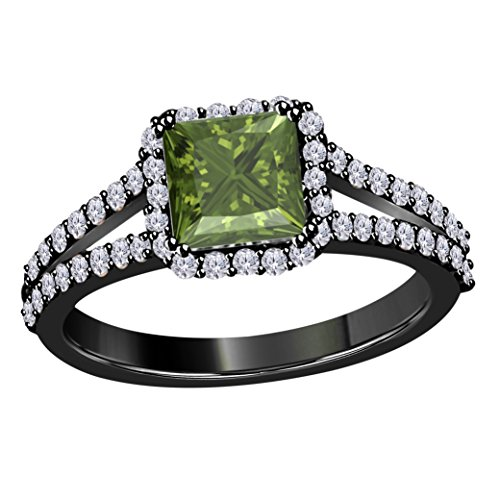 DreamJewels 2.00 Ct Princess Cut Halo Pave Eternity Lab Created Dark Green Peridot & White CZ Twist Shank Engagement Ring in 14k Black Gold Plated Size 4-12