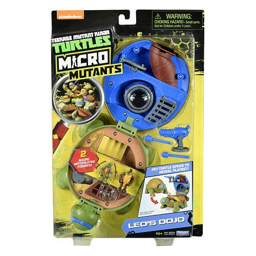 Teenage Mutant Ninja Micro Leonardo's Dojo Pet Turtle To Playset