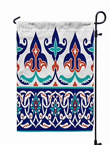 (Shorping Welcome Garden Flag, 12x18Inch Floral Border Your Traditional Turkish Ornament Background Iznik for Holiday and Seasonal Double-Sided Printing Yards)