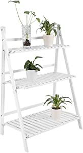 Flower Stand, 3 Layers Wooden Folding Flower Rack Ladder Flower Display Shelf Flower Bench Potted Stand Shelf for Greenhouse, Garden and Balcony, 70x40x96cm (White)