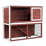 Tangkula Chicken Coop Rabbit Hutch Two Story Wooden Garden Backyard Bunny Small Animal Hen Cage