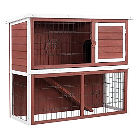 Tangkula Chicken Coop Rabbit Hutch Two Story Wooden Garden Backyard Bunny Small Animal Hen Cage - 2 Rabbits