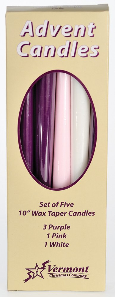 Christmas Advent Candles (Set of 5) - Made in U.S.A. Vermont Christmas Company AX-AY-ABHI-17024