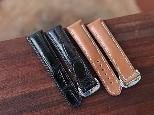 (Handmade Genuine Alligator watch band leather - Alligator watch strap leather - Omega watch band - Deployment Clasp )