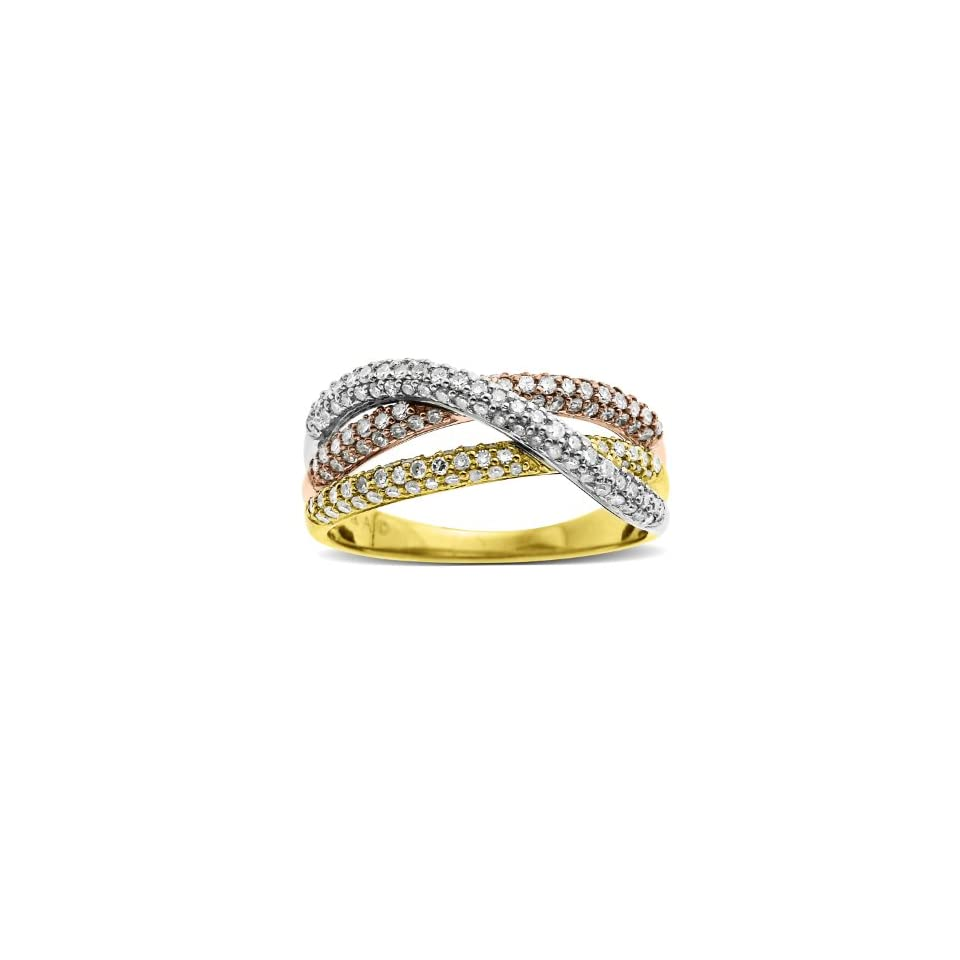 14k TriColor Gold Intertwined Diamond Ring, Size 6