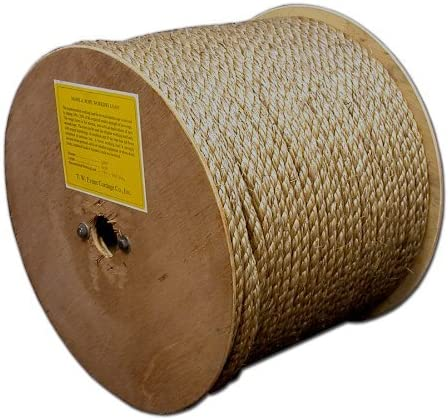 T.W Evans Cordage 25-001 1//4-Inch by 600-Feet Pure Number-1 Manila Rope Reel