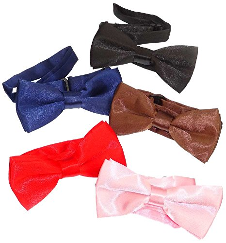 Subtle Addition Little Boys Solid Color Adjustable Pre-tied Bow Ties for Kids