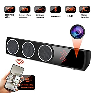 WiFi Spy Camera Bluetooth Speaker - Mini Spy Camera 1080p 160 Degrees Wide Angle - Hidden Spy Camera Motion Detection for House
