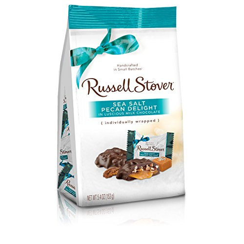 Russell Stover Milk Chocolate Sea Salt Pecan Delights, 5.4 Ounce Bag, 6 Count (Delights Large Gift Box)