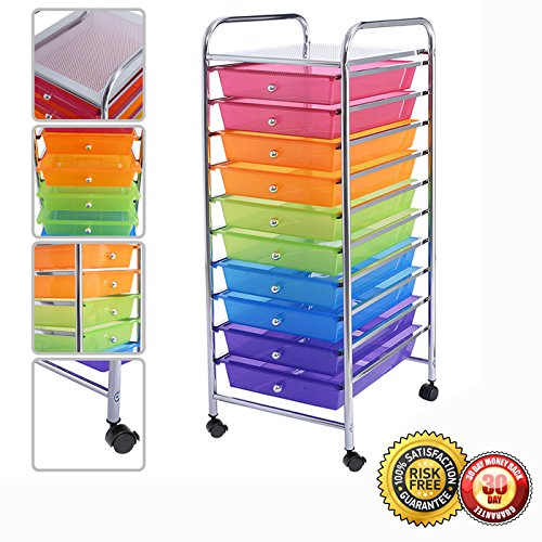 New 10 Drawer Rolling Storage Cart Scrapbook Paper Office School Organizer - Tool Cart Drawer 10