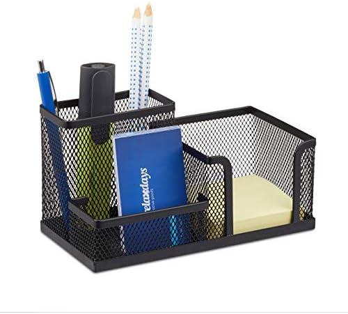 Relaxdays Schreibtischorganizer, Büroablage mit Stiftehalter und Zettelhalter, Metall Mesh, HBT: 10x18,5x9,5cm, schwarz
