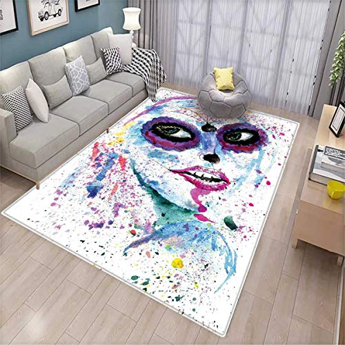 Girls Customize Door mats for Home Mat Grunge Halloween Lady with Sugar Skull Make Up Creepy Dead Face Gothic Woman Artsy Door Mat Outside Blue Purple