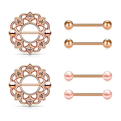 - JFORYOU Nipple Rings Nipple Piercing Shield Barbell for Women 316L Stainless Steel 14G Body Piercing Jewelry Rose Gold Pack