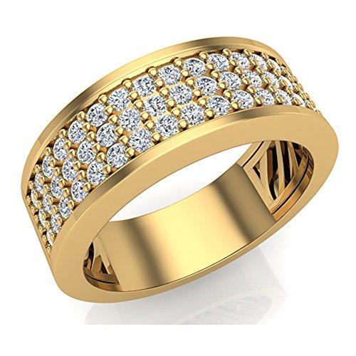 1.00 ct tw Unisex Wedding Band Three row Diamond Ring 18K Yellow Gold (Ring Size (18k White Gold 3 Row)