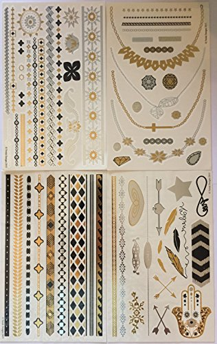 twink-designs-metallic-temporary-tattoos-4-individual-sheets-of-original-tattoo-flash-and-body-art