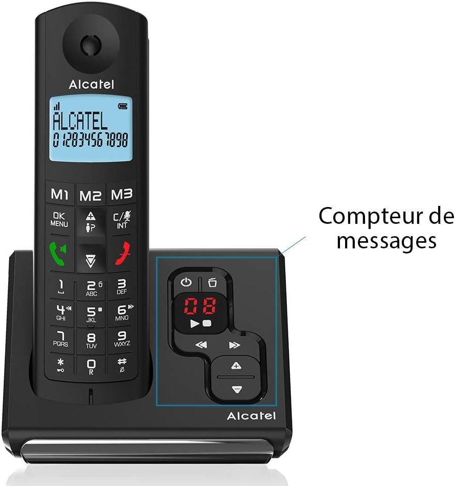 Alcatel F690 Voice - Teléfono (Teléfono DECT, Terminal inalámbrico, 100 entradas, Negro)