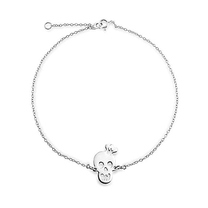 13eb62822 Crown Skull Smiling Girls Charms Anklet Hotwire Ankle Bracelet 925 Sterling  Silver Adjustable 9 to 10 Inch with Extender: Amazon.co.uk: Jewellery