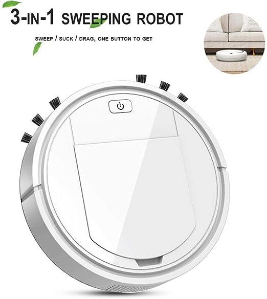 HWWGG Robot Aspirador Inteligente, 3 En 1 Robot Aspirador Automático Y Fregasuelos, USB Recargable, para Mascotas, Moqueta, Alfombras 27x27x6.8cm/Blanco: Amazon.es: Hogar