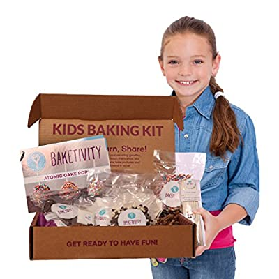 Baketivity Kids Baking Set, Meal Cooking Party Supply Kit for Teens, Real Fun Little Junior Chef Essential Kitchen Lessons, Includes Pre-Measured Ingredients from Baketivity