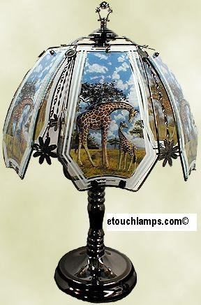 Giraffe Touch Lamp with Pewter Base For Sale