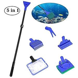 Achort Set de Limpieza de Tanque de Pescado de Acuario 5 en 1 Kit de Limpieza (Net + rastrillo + rascador + Tenedor…