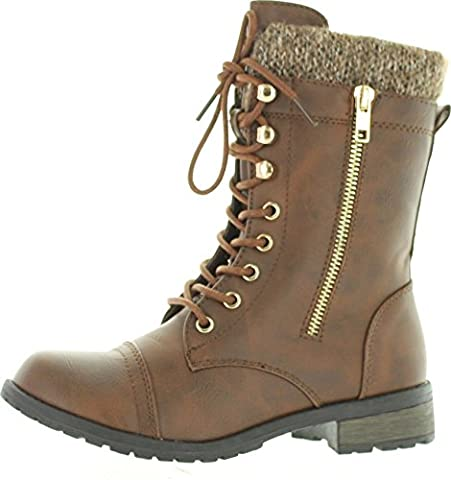 Forever Link Womens Mango-31 Round Toe Military Lace Up Knit Ankle Cuff Low Heel Combat Boots,Brown - Footwear Combat Boots