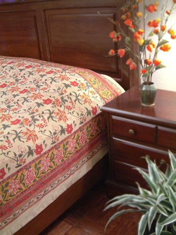 Tropical Garden ~ Colorful Red Floral Country King Bedspread 108x90