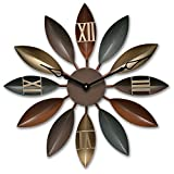SparrK Retro European Industrial Craft Iron Leaves Non-Sticking Creative Mute Wall Clock 22″ (Purple)
